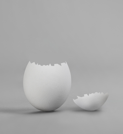 shaken: one white shaken egg, on grey background, hatching Stock Photo