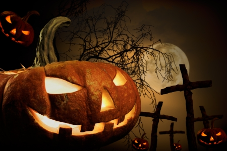 horrify: many pumpkin on burying place, concept  religious  feast  Halloween