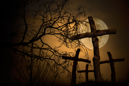 group of wooden cross on graveyard, night horror landscape whith moon