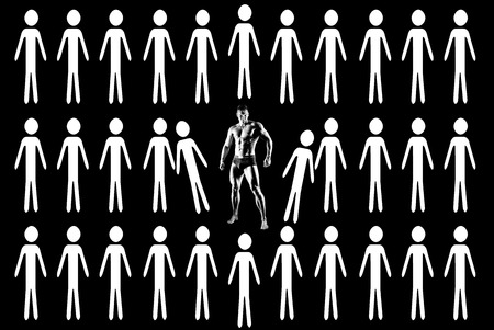 stand out: the very muscular guy on black background, concept stand out Stock Photo