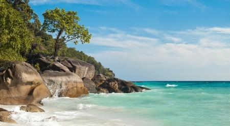 southern thailand: horizontal photo  beauty rock-beach Indian Ocean in Thailand