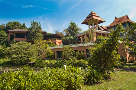 botanical gardens: horizontal photo beauty landscape with palace or villa and botanical gardens, in Thailand Stock Photo