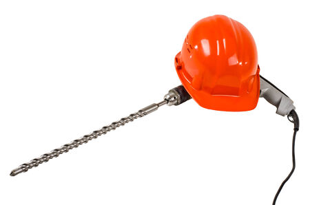 aegis: photo  red  safety cap and perforator with  stone-drill, close up on white background, isolated