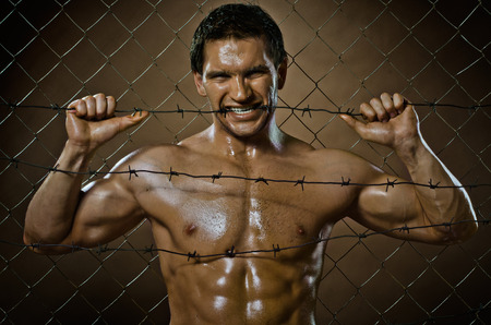 angriness: the very muscular handsome felon guy ,  out of netting   steel fence with  barbed wire