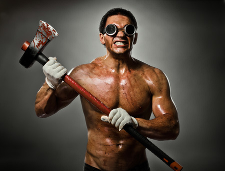 evildoer: photo crazy frenzied chopper  butcher man  on dark grey background,  action with big axe