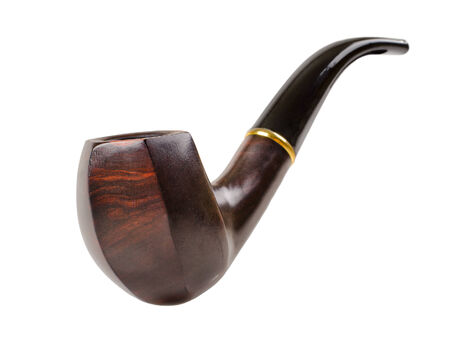 nice photo tobacco pipe, close up on white background, isolated