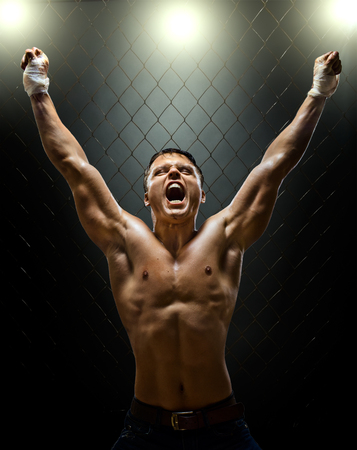 bandwagon: vertrical photo  muscular young  guy street-fighter,  triumphant cries  yell , hard light