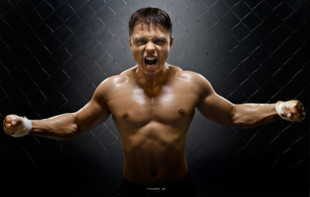 bawl: horizontal photo  muscular young  guy street-fighter,  aggression frightening  yell , hard light
