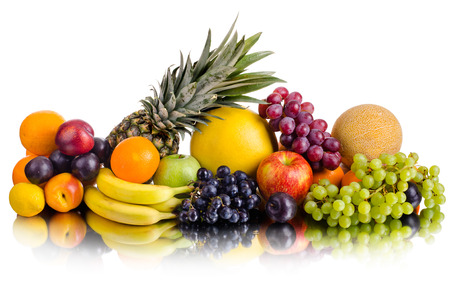 still life of big  heap multi-coloured fruits , on white background, isolated photo