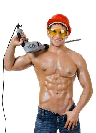 the beauty worker driller man,   wield with  perforator, on white background, isolated photo