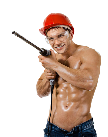 perforator: the beauty worker driller man,  wield with  perforator, on white background, isolated
