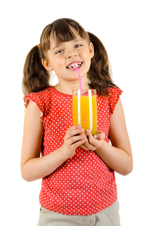 lively: happy beauty little girl, hold glass with multifruit juice and smile, on white background, isolated Stock Photo