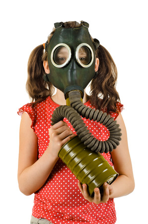 vertical photo  little girl  in gas mask, on white background, isolated  photo