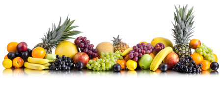 bacca: still life of big  heap multi-coloured fruits , on white background, isolated. Panorama of two photography Stock Photo