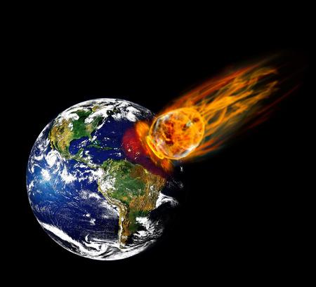 Botsing planeet aarde met een enorme vurige meteoriet.