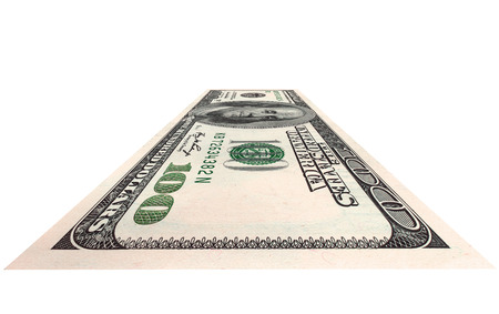 encash: one currency note  dollar, on white background, isolated