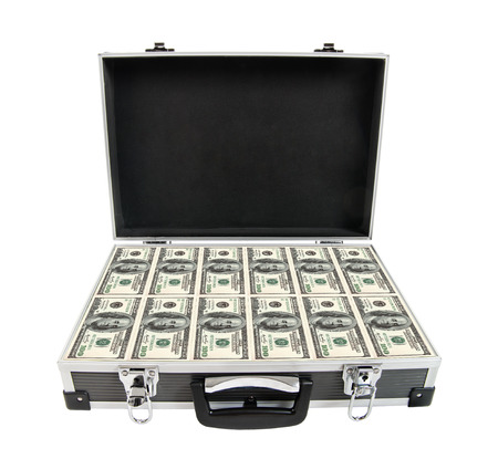 moneyed: armored black case with cash money, on white background; isolated