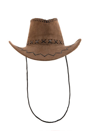 full face: one brown chamois cowboy hat,  full face, on white background; isolated