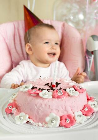 solemnize: one-year-old little girl solemnize birthday Stock Photo