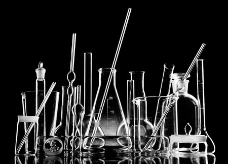 carboy: group object of  laboratory limpid glassware,  black-and-white horizontal photo