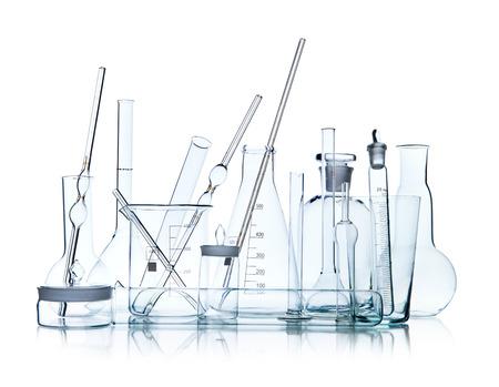 glasswork: group object of  laboratory limpid glassware on white background, isolated,  horizontal photo Stock Photo