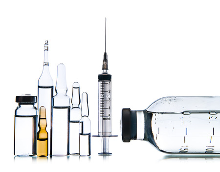 limpid: group object of  liquid medicinal agent in  limpid glassware, on white background; isolated
