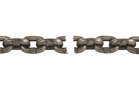 disrupting: close up steel-wire chain, on white background; isolated Stock Photo