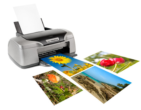 inkjet printer: photo inkjet printer, on white background; isolated  Stock Photo