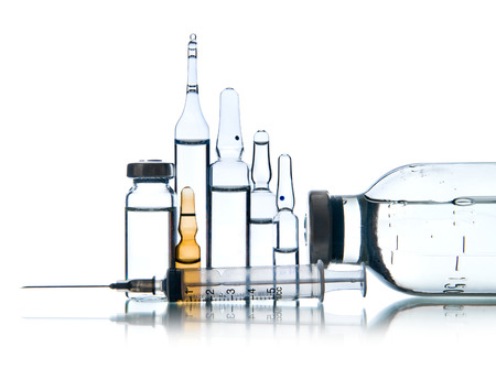 demijohn: group object of  liquid medicinal agent in  limpid glassware, on white background; isolated