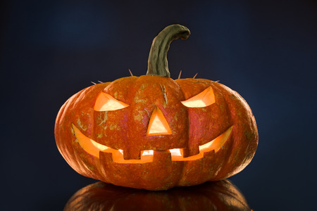 feast: pumpkin on black background, concept  religious  feast  Halloween Stock Photo