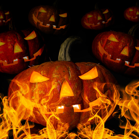 horrific: many pumpkin with flame, concept  religious  feast  Halloween Stock Photo