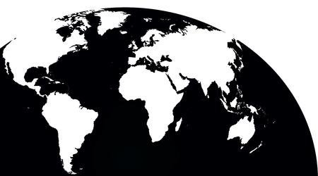 contoured: contorneada mapa del mundo, en el fondo blanco, copia-y-blanco Ilustraci�n