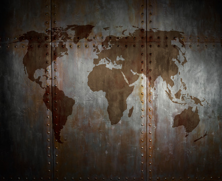 clinch: threadbare rusty  steel covering with rivet,  iron background with world map