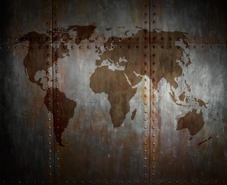 threadbare: threadbare rusty  steel covering with rivet,  iron background with world map