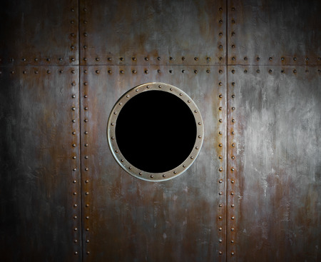 ship porthole: threadbare rusty steel side submarine or ship with airport ( illuminator).