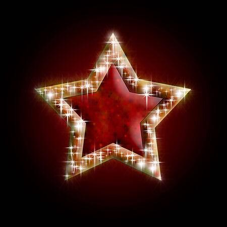 lambent: beautiful Christmas star on dark  background,  illustration