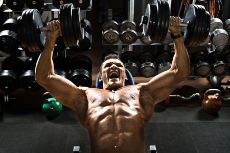 very power athletic guy bodybuilder ,  execute exercise press of dumbbells on pectoral muscle, in gym photo
