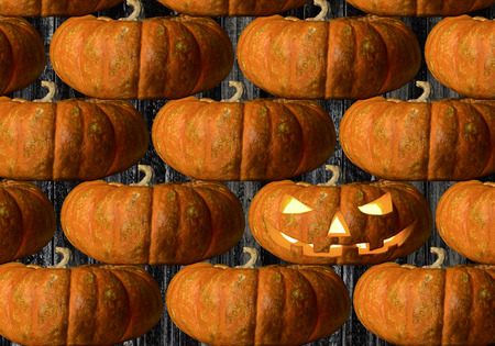 horrific: pumpkin on black background, concept  religious  feast  Halloween Stock Photo
