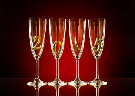 four glass goblet for champagne with  numeral 2015 photo