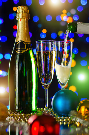 strew: bottle  champagne with four glass goblet and  numeral 2015,  beautiful celebrations  New Year concept photo Stock Photo