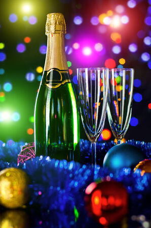 goblet: bottle  champagne with four glass goblet and  numeral 2015 Stock Photo