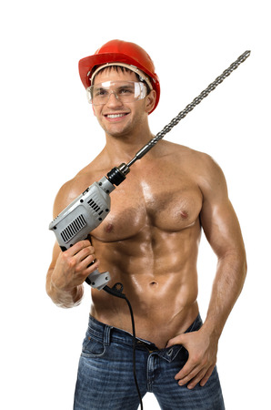 the beauty worker driller man,   wield with  perforator, on white background, isolated Stock Photo