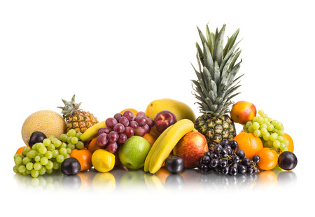 bacca: still life of big  heap multi-coloured fruits , on white background, isolated