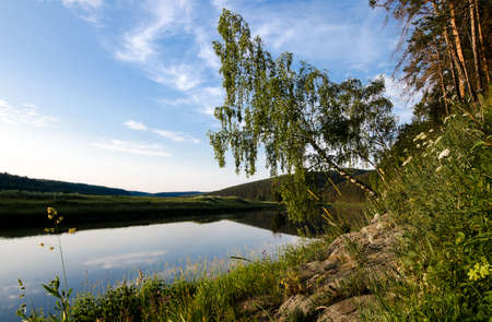morn: beautiful evening or morning landscape , of river and birch Stock Photo
