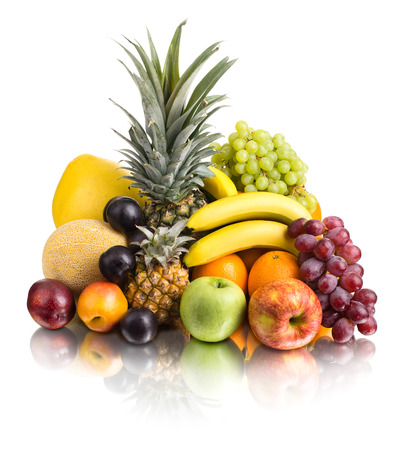 citrous: still life of  multi-coloured fruits , on white background, isolated Stock Photo