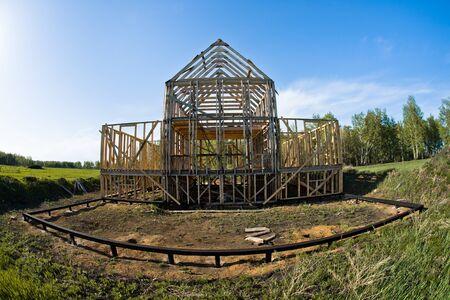 heavy joist: Horizontal photo building site framehouse on nature
