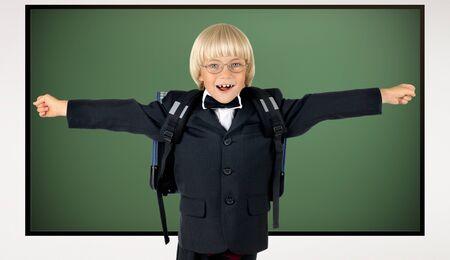 joyfull: the little children schoolboy gladness stand with green school-board