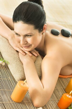 respite: the very  pretty  young woman on spa treatment , horizontal  portrait