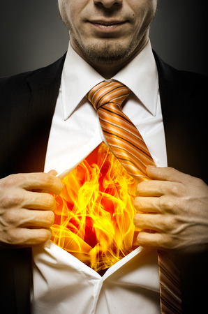 businessman  in black costume throw open ones shirt, blaze in soul