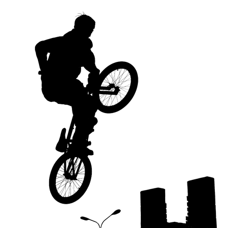 bicyclist: The bicyclist on a bicycle in a jump, on white background,  illustration